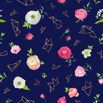 Kwiatowy wzór z różowe kwiaty i złote elementy geometryczne. tło botaniczne dla tkanin tekstylnych, tapet, papieru do pakowania i wystroju. ilustracja wektorowa