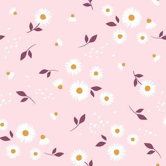 Kwiatowy wzór z rumiankiem śliczny wzór w drobne kwiatki.
