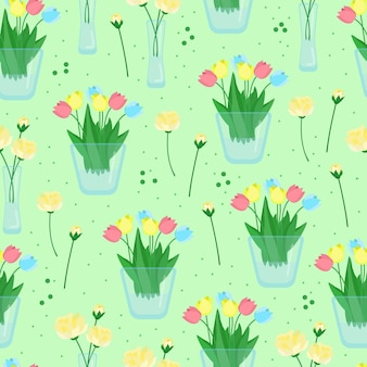 Kwiatowy wzór z tulipanami i różamikwiaty w wazonach ilustracji wektorowych w stylu płaski