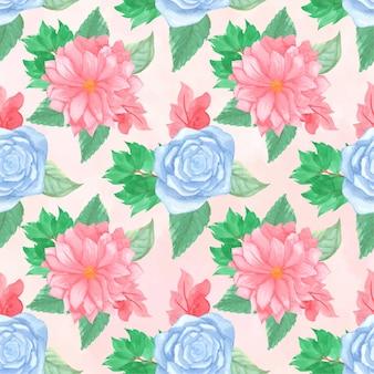 Kwiatowy wzór z wspaniałe różowe i niebieskie kwiaty