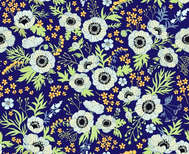 Kwiatowy wzór z zawilcami. piękne białe kwiaty. ciemny niebieski . wzór. tle kwiatów. wydruki modowe. pastelowe kolory.
