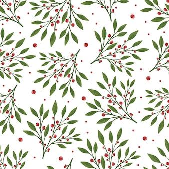Kwiatowy wzór z zielonych liści i czerwonych jagód. idealny na tekstylne plakaty z tapetami.