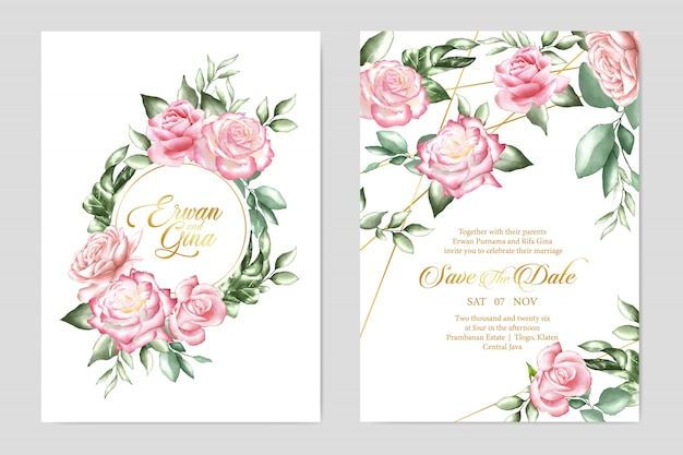 Kwiatowy wzór zaproszenia ślubne szablon karty