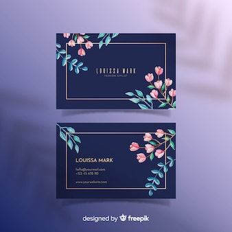 Kwiatowy z szablonu złote wizytówki
