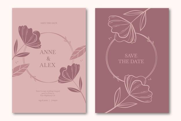 Kwiatowy zapisz datę zaproszenia na ślub
