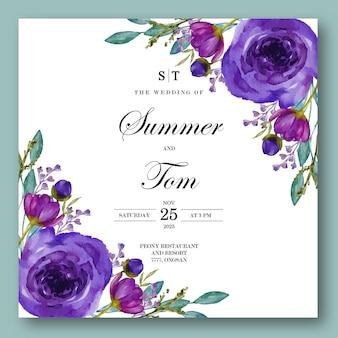 Kwiatowy zaproszenie na ślub akwarela