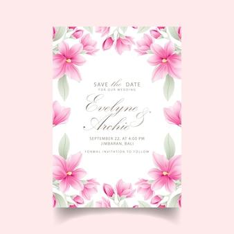 Kwiatowy zaproszenie na ślub z kwiatami magnolii