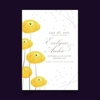 Kwiatowy zaproszenie na ślub z kwiatem ranunculus