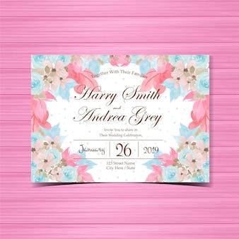 Kwiatowy zaproszenie na ślub z piękne ręcznie malowane niebieskie róże