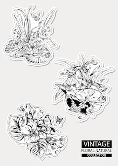 Kwiatowy zarys kolorowanie kolekcji vintage