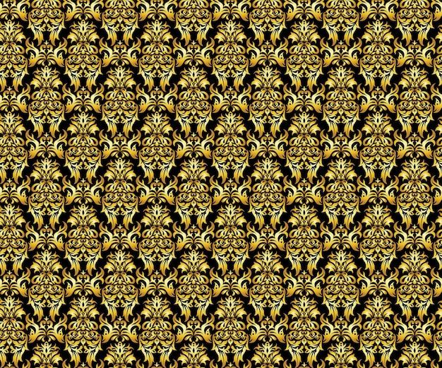 Kwiatowy złoty luksus bezszwowe wzór, tło wektor.