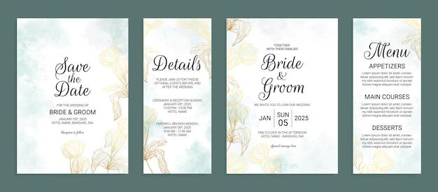 Kwiatowy złoty szablon zaproszenia ślubnego z dekoracją liści akwareli