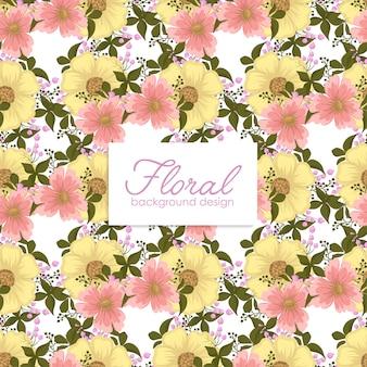 Kwiatowy żółty wzór z kwiatami i liśćmi