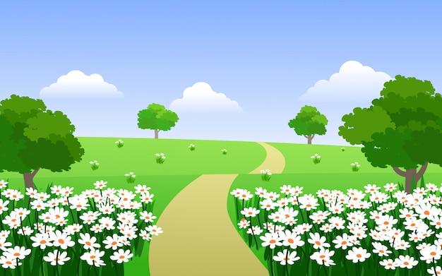 Kwiatu ogród w wsi z drogą przemian
