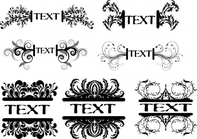 Kwiatu ramki tekstowe ustawione