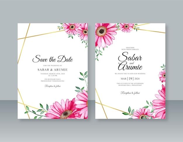 Kwiaty akwarelowe i geometryczna ramka do szablonu zaproszenia ślubnego