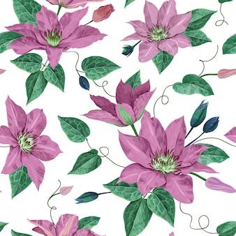 Kwiaty akwarelowe powojników. kwiatowy tropikalny wzór na tapetę, nadruk, tkaninę, tekstylia. lato tło z kwitnących fioletowych kwiatów. ilustracja wektorowa