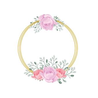 Kwiaty akwarelowe ze złotą kwiecistą ramą
