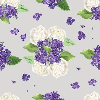 Kwiaty bez szwu, białe róże i fioletowe kwiaty
