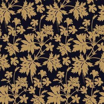 Kwiaty Geranium. Kwiatowy Wzór. Premium Wektorów