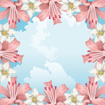Kwiaty hibiskusa egzotyczne kwieciste niebo chmury