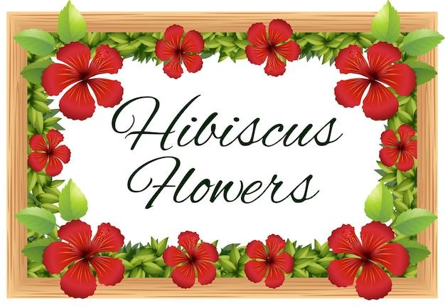 Kwiaty hibiskusa wokół drewnianej ramy
