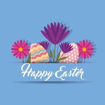 Kwiaty i dekoracj jajek szczęśliwy easter błękitny tło