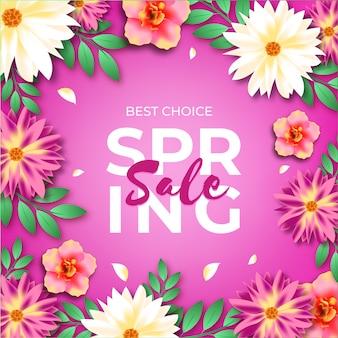 Kwiaty i fioletowe tło realistyczna wiosenna wyprzedaż