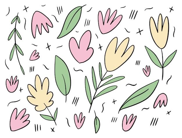 Kwiaty i liście elementy i wzór.