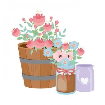 Kwiaty i liście w doniczkach