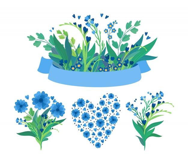 Kwiaty i pusty wstążka płaski zestaw ilustracji. kwitnące łąkowe kwiaty, zielone liście i serca. puste niebieski pasek na białym tle ozdoba