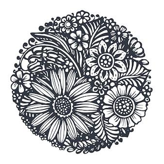 Kwiaty i rośliny w kole na białym tle