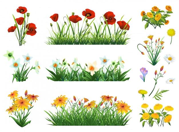 Kwiaty i trawa zestaw elementów wektorowych. natura i ekologia