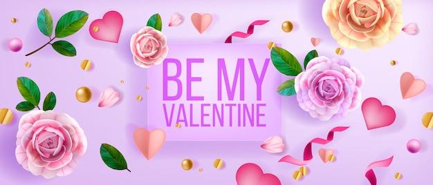 Kwiaty, konfetti, serduszka, perły. bądź moją walentynką romantyczny wiosenny kwiatowy widok z góry.