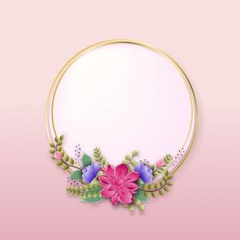 Kwiaty kwiatowy rama wiosennych gałęzi kwitnących