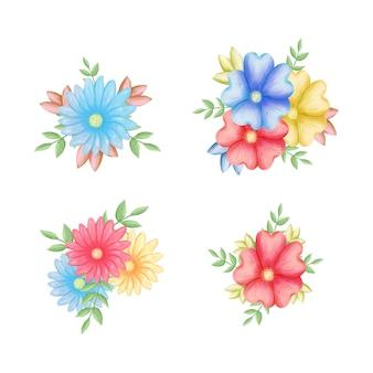 Kwiaty, leśna zieleń, szara liść girlanda, białe tło. baner zaproszenie na ślub. ilustracja. kompozycja kwiatowa.