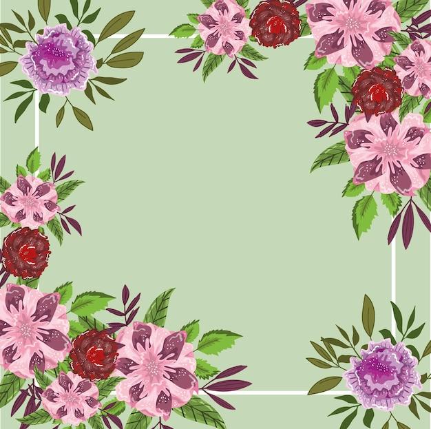 Kwiaty liść natura botaniczne zielone tło, ilustracja malarstwo