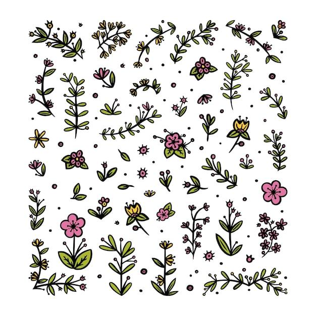 Kwiaty liście i gałęzie elementy do ozdób dekoracyjny kwiatowy wzór do różnych wzorów
