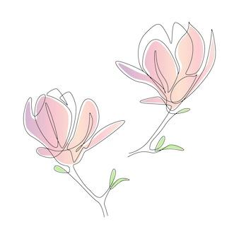 Kwiaty magnolii w stylu sztuki jednej linii. ciągły rysunek może być używany do ikon, wydruków ściennych, plakatów, czasopism, pocztówek, emblematów, logo. streszczenie ilustracji wektorowych