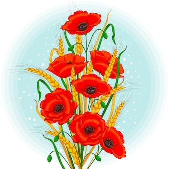 Kwiaty maku i kłosy pszenicy