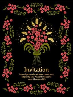 Kwiaty na czarnym tle wedding invitación