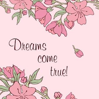 Kwiaty na gałęzi. ilustracja wektorowa. wektor zapasowy. sakura. pocztówka. różowe kwiaty. marzenia się spełniają