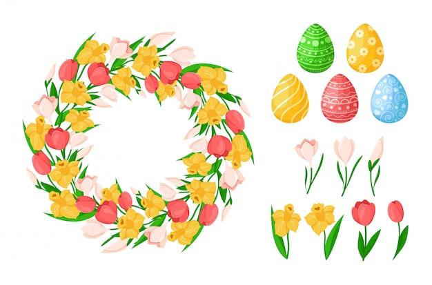 Kwiaty na wielkanoc - żółty żonkil, różowy tulipan, przebiśnieg - wieniec kwiatowy lub okrągła rama