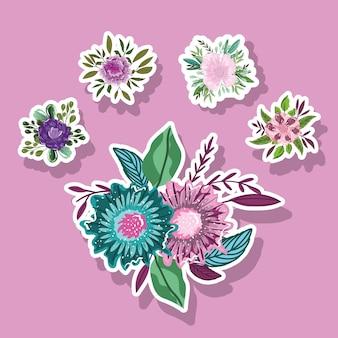 Kwiaty natura pozostawia liście dekoracji naklejki stylu ikony