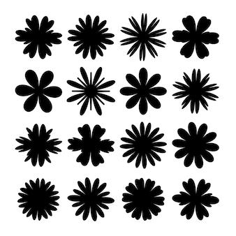 Kwiaty o różnych sylwetkach ustawione na białym tle