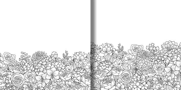 Kwiaty ogrodowe i liście bezszwowe obramowania ustawione na szablon nadruków tekstylnych z miejscem na tekst