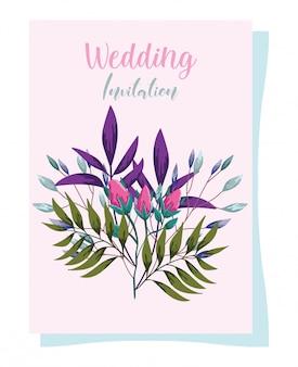 Kwiaty ozdoby ślubne kiełkują ozdobną kartkę z życzeniami lub zaproszenie