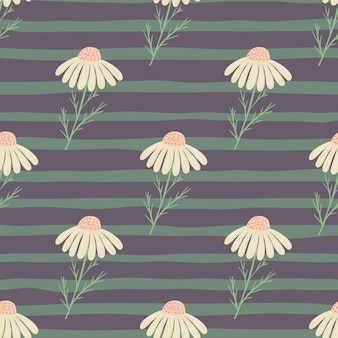Kwiaty polne wzór z ręcznie rysowanymi elementami kwiatów rumianku