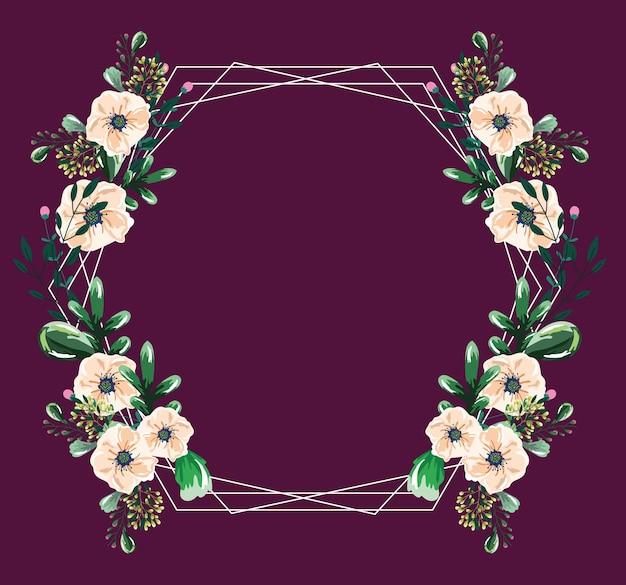 Kwiaty pozostawia gałęzie vintage akwarela