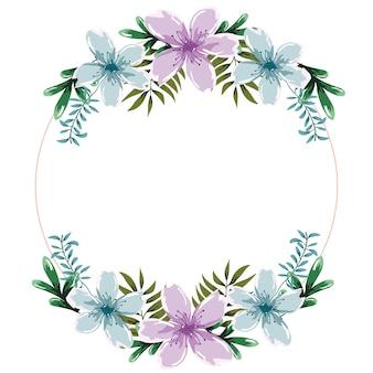 Kwiaty pozostawia wieniec dekoracji akwarela